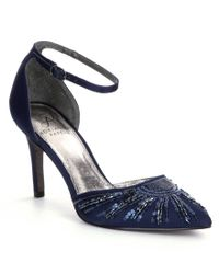 Adrianna Papell | Blue Hollis Satin Sequin Pointed-toe Ankle Strap Pumps | Lyst