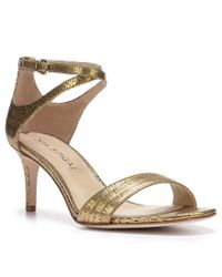 Via Spiga | Leesa Lizard Embossed Metallic Leather Ankle Strap Mid Heel Sandals | Lyst