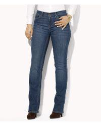 Lauren by Ralph Lauren | Blue Plus Super-stretch Classic Straight-leg Harbor-wash Jeans | Lyst