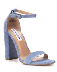 Steve Madden | Blue Carrson Suede Two Piece Block Heel Dress Sandals | Lyst