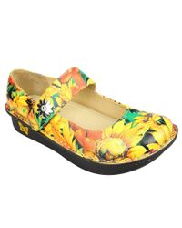 Alegria - Yellow Paloma Sunflower-print Mary Jane Clogs - Lyst