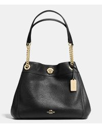 COACH | Metallic Turnlock Edie Shoulder Bag In Pebble Leather | Lyst