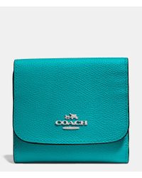 COACH Blue Small Wallet In Crossgrain Leather