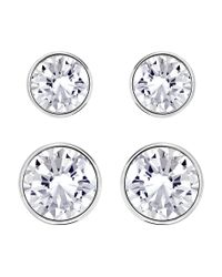 Swarovski | Metallic Silver-tone 2-pc. Set Crystal Stud Earrings | Lyst