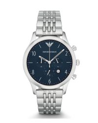 Emporio Armani | Metallic Chronograph Stainless Steel Bracelet Dress Watch for Men | Lyst
