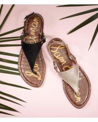 Sam Edelman - Black Greta T-strap Sandals - Lyst
