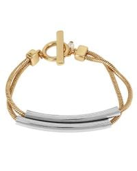 Kenneth Cole | Metallic Two-tone Double-bar Toggle Bracelet | Lyst