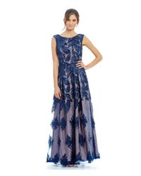 Aidan Mattox | Blue Illusion Lace Fit-and-flare Ball Gown | Lyst