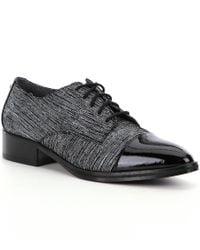 Donald J Pliner   Black Gea Tailored Streaked Suede Patent Leather Cap Toe Oxfords for Men   Lyst