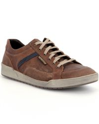 Mephisto | Brown Men ́s Rodrigo Leather And Suede Trim Sneakers for Men | Lyst