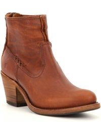Frye | Brown Leslie Artisan Short Booties | Lyst
