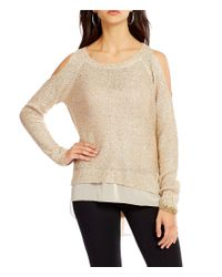 Jessica Simpson | Natural Nia Cold Shoulder Sequin High-low Sweater | Lyst