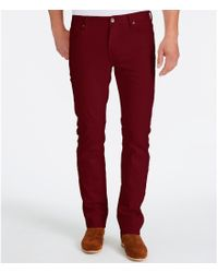 William Rast | Red Slim-fit Straight-leg Stretch Twill Pants for Men | Lyst