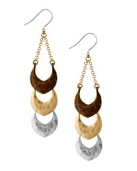 Lucky Brand | Metallic Tri-tone Linear Drop Earrings | Lyst