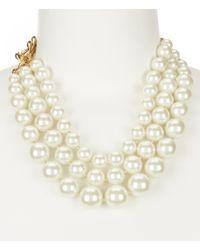 Anne Klein | Metallic Blanc Pearl Multi Row Collar Necklace | Lyst