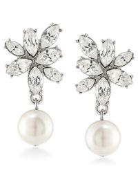 Carolee | Metallic Silver-tone Imitation Pearl And Crystal Drop Earrings | Lyst