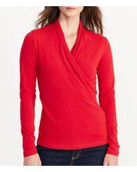 Lauren by Ralph Lauren | Red Faux-wrap Jersey Top | Lyst