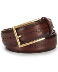Cole Haan | Brown Stitched Pressed Edge Leather Belt for Men | Lyst