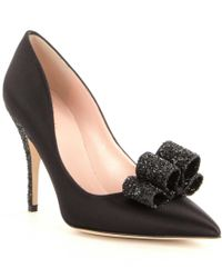 kate spade new york | Black Latrice Satin Bow Pointed-toe Pumps | Lyst
