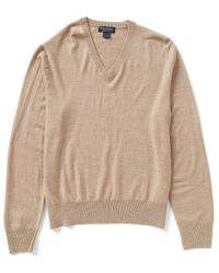 Brooks Brothers | Brown Saxxon Stretch V-neck Sweater for Men | Lyst