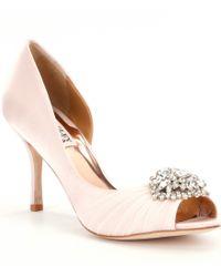 Badgley Mischka | Pink Pearson Jeweled Satin D ́orsay Pumps | Lyst