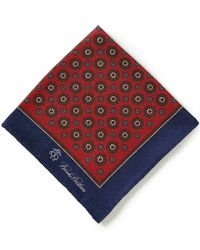 Brooks Brothers | Red Flower/medallion Print Double-sided Pocket Square for Men | Lyst