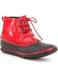 Sorel | Red Women ́s Out N About Patent Leather Lace Up Waterproof Booties | Lyst