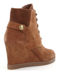 MICHAEL Michael Kors - Brown Wedge Booties - Lyst