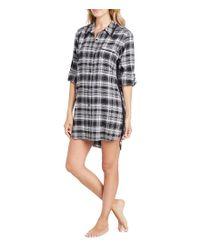 DKNY   Black Plaid Flannel Boyfriend Sleepshirt   Lyst