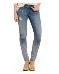 Miss Me Blue Splashout Distressed Skinny Jeans