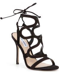 Steve Madden | Black Ava Tie Up Dress Sandals | Lyst