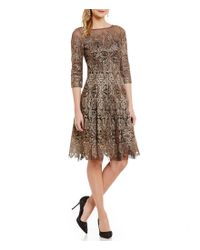 Kay Unger | Metallic Lace Fit-and-flare 3/4 Sleeve Dress | Lyst