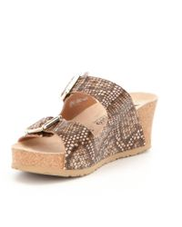 Mephisto - Brown Lenia Reptile Wedge Sandals - Lyst