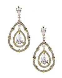 Nadri - Metallic Three-tiered Crystal Drop Earrings - Lyst