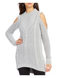 Jessica Simpson | Gray Riva Mock Neck Cold Shoulder Cable-knit Sweater | Lyst