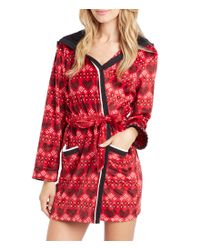 Kensie | Red Holiday Heart-print Microfleece Hooded Wrap Robe | Lyst