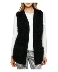 Kensie | Black Faux-fur Lounge Vest | Lyst