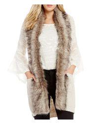 Jessica Simpson | White Powder Faux Fur Collar Sweater Vest | Lyst
