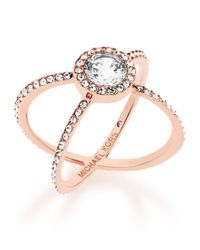 Michael Kors | Multicolor Crystal Double-band Ring/rose Goldtone | Lyst