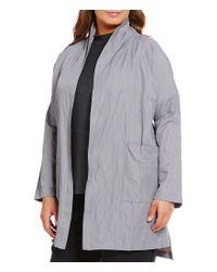 Eileen Fisher | Gray Plus Metallic Kimono Coat | Lyst
