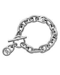 Michael Kors | Metallic Fulton Logo Pavé Toggle Bracelet | Lyst