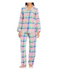 Lauren by Ralph Lauren | Pink Petite Plaid Twill Classic Pajamas | Lyst