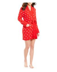 Betsey Johnson | Red Heart Cozy Sweater-knit Wrap Robe | Lyst