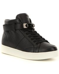 COACH | Black Robby Pebbled Leather Lace-up Buckle Sneaker for Men | Lyst
