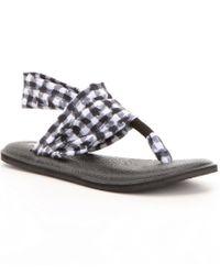 Sanuk | Black Yoga Sling 2 Prints Gingham Stretch Sandals | Lyst