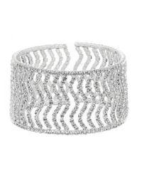 Cezanne Metallic Rhinestone Zigzag Open Cuff Bracelet
