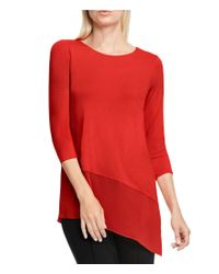 Vince Camuto | Red Asymmetrical Mixed Media Top | Lyst