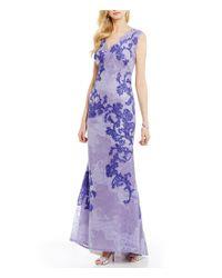 Tadashi Shoji | Purple V-neck Sleeveless V-back Lace A-line Gown | Lyst