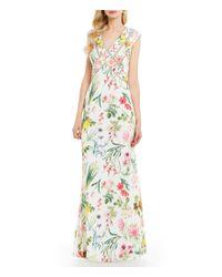 Tadashi Shoji | White V-neck Cap Sleeve V-back Floral Chiffon Gown | Lyst