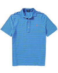 Polo Ralph Lauren | Blue Custom-fit Featherweight Horizontal-striped Polo Shirt for Men | Lyst